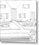 A Suburban Lemonade Stand Attracts No Business Metal Print