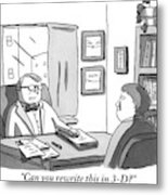 A Suited Man Behind A Desk Addresses A Writer Metal Print