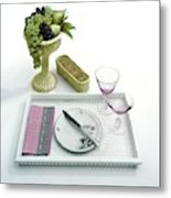 A Summer Table Setting On A Tray Metal Print