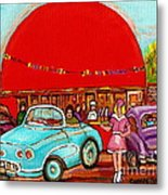 A Sunny Day At The Big Oj- Paintings Of Orange Julep-server On Roller Blades-carole Spandau Metal Print