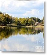 A Sunny Day's Reflections At The Lake House Metal Print
