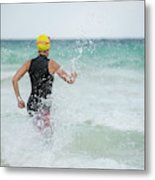 A Swimmer Running To The Ocean Metal Print