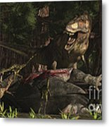 A T-rex Returns To His Kill And Finds Metal Print