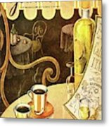A Table At An Italian Cafe Metal Print