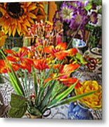A Table Of Flowers Metal Print