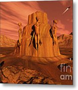 A Team Of Explorers From Earth Metal Print