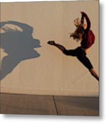A Teenage Girl Playing With Her Shadow Metal Print