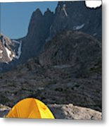 A Tent Is Dwarfed By The High Peaks Metal Print