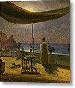 A Terrace In Amalfi In Moonlight Metal Print