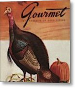 A Thanksgiving Turkey And Pumpkin Metal Print