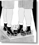 A Tiny Emcee In A Boxing Ring Is Seen Standing Metal Print