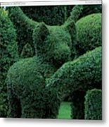 A Topiary Bear In Alice Braytons Green Animals Metal Print
