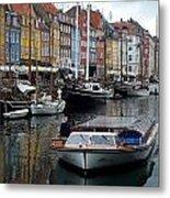 A Tour Boat At Nyhavn Metal Print