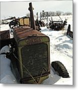 A Tractor In The Snow Metal Print