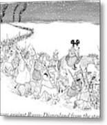 A Trail Of People And Disney Characters March Metal Print