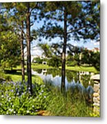 A Tranquil Pond At Walt Disney World Metal Print