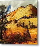 A Tree And Orange Hill Metal Print