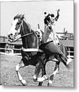 A Trickriding Cowgirl Metal Print