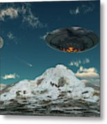 A Ufo Flying Over A Mountain Range Metal Print