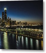 A Unique Look At The Chicago Skyline At Dusk Metal Print