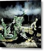 A United States Gun Crew Fire Illumination Rounds At Forward Operating Base Hadrian Metal Print