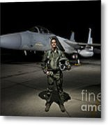A U.s. Air Force Pilot Stands In Front Metal Print