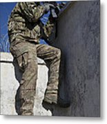 A U.s. Soldier Provides Security At An Metal Print