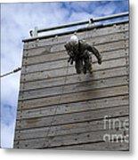A U.s. Soldier Runs Down A 40-foot Metal Print