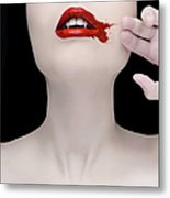 A Vampire Wiping Blood From Her Mouth Metal Print
