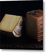 A Variety Of Cheese On A Cutting Board Metal Print