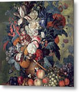 A Vase Of Flowers With Fruit Metal Print