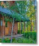 A View Of A Cottage With Aspen Trees Metal Print