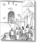 A Viking Army Stands Before A Castle Gate Where Metal Print