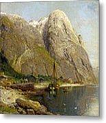 A Village By A Fjord Metal Print