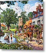 A Village In Summer Metal Print