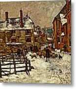 A Village In The Snow Metal Print