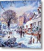 A Village In Winter Metal Print
