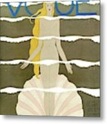 A Vintage Vogue Magazine Cover Of A Naked Woman Metal Print