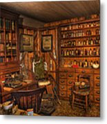 A Visit To The Doctor's Office - Old Time Physician Office - Doctors - Pharmacists - Opticians Metal Print