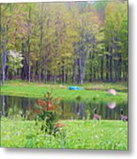 A Waddle In The Meadow - Oil Painting    Metal Print