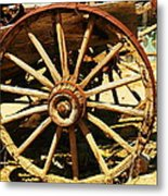 A Wagon Wheel Metal Print