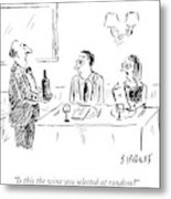 A Waiter Shows A Bottle Of Wine To Two Dinner Metal Print