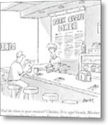 A Waitress Takes A Man's Order In A Diner Metal Print