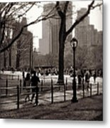 A Walk In Central Park - Antique Appeal Metal Print