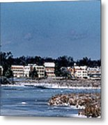 A Waterfront Christmas Metal Print by Skip Willits