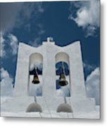 A Whitewashed Bell Tower And Dramatic Metal Print