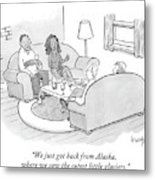 A Wife Tells Guests At A Dinner Party Metal Print