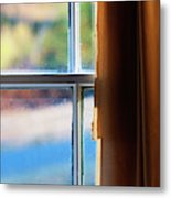 A Window With Torn Curtains Metal Print