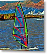 a WindSurfer's Gr8 Ride Metal Print by Joseph Coulombe