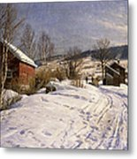 A Winter Landscape Lillehammer Metal Print by Peder Monsted
